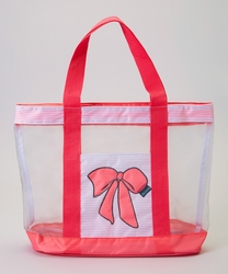 Girls Pink Bow Swim Bag Beach Tote