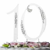 "10th Birthday or Anniversary  Crystal Accented Cake Top ""Sparkle"""