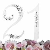 "21st Birthday or Anniversary  Crystal Accented Cake Top ""Sparkle """