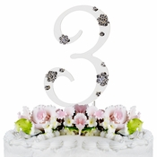 3rd Birthday or Anniversary Wedding Crystal Cake Topper