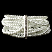 8 Row Silver White Pearl Stretch Bracelet