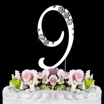 9th Birthday or Anniversary French Flower Crystal Cake Top