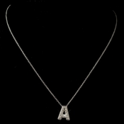 """A"" Clear Rhinestone Letter Initial Pendant Necklace 1"