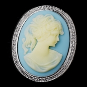 * Antigue Silver Light Blue & Vanilla Cameo Brooch 159