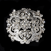 Antique Clear Rhinestone Vintage Style Bridal Brooch 3181