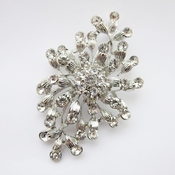 Antique Rhodium Silver Clear Brooch 232