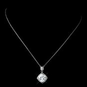 Antique Rhodium Silver Clear CZ Clear Crystal Cut Drop Pendent Necklace 7723