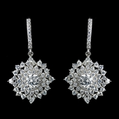 Antique Rhodium Silver Clear CZ Crystal Cluster Snowflake Like Leverback Earrings 7771