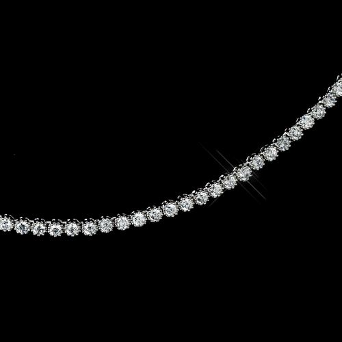 Antique Rhodium Silver Clear CZ Crystal Dainty Necklace & Earrings Jewelry Set 7744