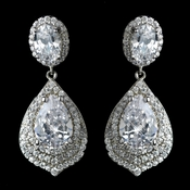 Antique Rhodium Silver Clear CZ Crystal Earrings 7412