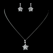 Antique Rhodium Silver Clear CZ Crystal Flower Snowflake Necklace & Earrings Jewelry Set 7751