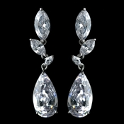 Antique Rhodium Silver Clear CZ Crystal Marquise And Teardrop Earrings 7768