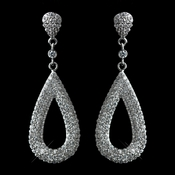 Antique Rhodium Silver Clear CZ Crystal Micro Pave Dangle Earrings 7785