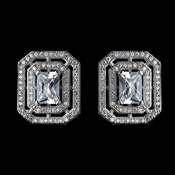 Antique Rhodium Silver Clear CZ Crystal Micro Pave Princess Cut Vintage Stud Earrings 7794