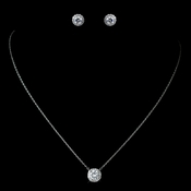 Antique Rhodium Silver Clear CZ Crystal Pave Pendent Necklace 1651 & Round Soaltaire Stud Halo Earrings 7741 Jewelry Set