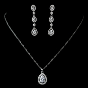 Antique Rhodium Silver Clear CZ Crystal Teardrop Encrusted CZ Pendent Necklace 7740 & Teardrop Oval Pave Dangle Earrings 7763 Jewelry Set
