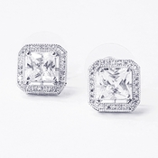 Antique Rhodium Silver Clear Cushion Cut CZ Crystal Stud Earrings 7403