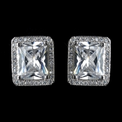 Antique Rhodium Silver Clear CZ Halo Emerald Stud Earrings 7413
