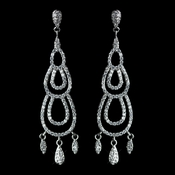 Antique Rhodium Silver Clear Micro Pave Encrusted Dainty Chandelier Earrings 7788