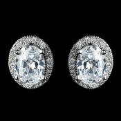 Antique Rhodium Silver Clear Oval Pave Encrusted Stud Earrings 7739