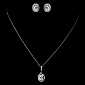 Antique Rhodium Silver Clear Oval Pendent Drop Necklace & Oval Pave Encrusted Stud Earrings Jewelry Set 7738