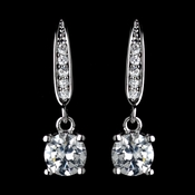 Antique Rhodium Silver Clear Pave Drop With Round Petite CZ Crystal Drop Earrings 7786