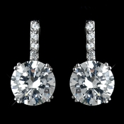Antique Rhodium Silver Clear Pave With Solitaire Stud Drop Earrings 7408