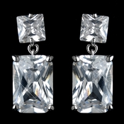 Antique Rhodium Silver Clear Princess Cut CZ Crystal Drop Earrings 7781