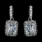 Antique Rhodium Silver Clear Princess Cut CZ Crystal Drop Earrings 7782