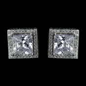Antique Rhodium Silver Clear Princess Cut Encrusted CZ Crystal Stud Earrings 7775