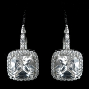 Antique Rhodium Silver Clear Princess CZ Crystal Stud Earrings 7701