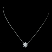 Antique Rhodium Silver Clear Snowflake Encrusted Pendent Necklace 7737