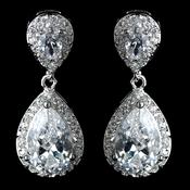 Antique Rhodium Silver Clear  Tear Drop Pave Encrusted CZ Crystal Earrings 7761