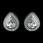 Antique Rhodium Silver Clear Teardrop CZ Crystal Pave Encrusted Stud Earrings 7777