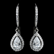 Antique Rhodium Silver Clear Teardrop Encrusted CZ Crystal Leverback Earrings 7740