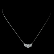 Three Stone Pave Round CZ Crystal Pendent Necklace 7735 Silver or Gold