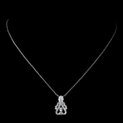 Antique Rhodium Silver Clear Vintage CZ Crystal Drop Pendent Necklace 7728