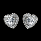 Antique Rhodium Silver CZ Crystal Heart Encrusted Earrings 7409