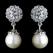 Antique Rhodium Silver Petite CZ Crystal Solitaire Encrusted With Pearl Drop Earrings 7758