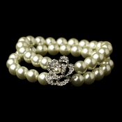 Antique Rhodium Silver Rhinestone & Ivory Pearl Rose Stretch Bracelet 14159