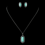 Antique Rhodium Silver w/ Black & Turquoise Convertible Stone Necklace & Earrings Jewelry Set 7759