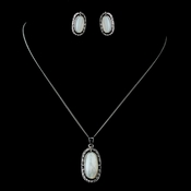 Antique Rhodium Silver w/ Mother Of Pearl & Taupe Convertible Stone Necklace & Earrings Jewelry Set 7760