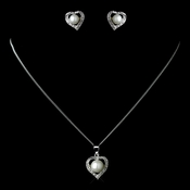 Antique Rhodium Silver White Pearl & CZ Crystal Heart Necklace & Earrings Jewelry Set 7750