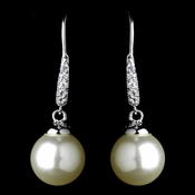Antique Rhodium Silver White Pearl & CZ Crystal Pave Encrusted Dangle Earrings 7757