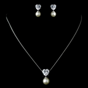 Antique Rhodium Silver White Pearl & Heart CZ Crystal Drop Necklace & Earrings Jewelry Set 7754