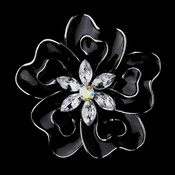 * Antique Silver Black Flower with Clear and AB Rhinestones Brooch 161 *Only 1 Piece Left
