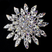 Antique Silver Clear & AB Rhinestone Brooch 165