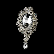 * Antique Silver Clear AB Rhinestone Brooch 81 **Discontinued**