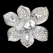 Antique Silver Clear & AB Rhinestone Brooch 8799