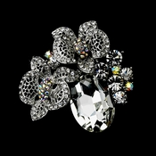 * Antique Silver Clear and AB Rhinestone Oval Flower Brooch 110